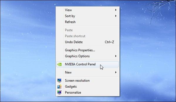 nvidia control pannel desktop